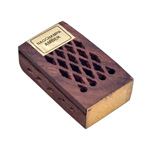Wood Fretwork Box w/ Resin - Amber and Nag Champa (3)