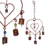 Rustic Cylinder Bells on Double Heart