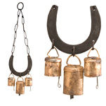 Rustic Cow Bells (3) on Horseshoe (11.5 inch)