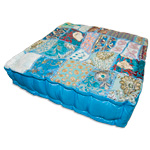 Square Khambadia Pattern Meditation Pillows - Blue