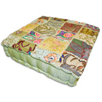 Square Khambadia Pattern Meditation Pillows - Green