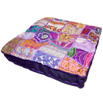 Square Khambadia Pattern Meditation Pillows - Purple