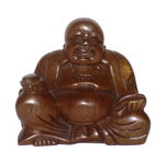 Happy Buddha (4.5 inch) - Suar Wood
