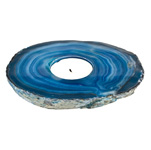 Agate Thick Slab Candle Holder - Blue