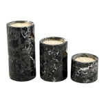 Candle Holder Set - Black Zebra Marble (3/set)