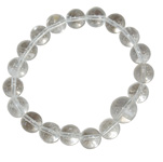 Gemstone Round Bead Bracelet - Clear Quartz