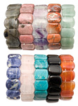 Gemstone Flat Oval Bracelets - Assorted (12)