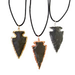 Plated Arrowhead Pendants - Black Agate (3)