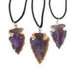 Plated Arrowhead Pendants - Amethyst (3)