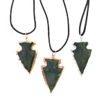 Plated Arrowhead Pendants - Bloodstone (3)