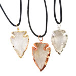 Plated Arrowhead Pendants - Clear Quartz (3)