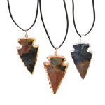 Plated Arrowhead Pendants - Mixed Jasper (3)