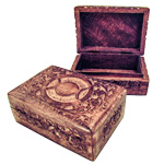 Carved Wood Box - Moon Phase