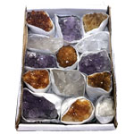 Boxed Crystal Clusters - Amethyst, Quartz and Citrine