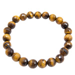 Gemstone Faceted Bead Bracelets - Gold Tigereye