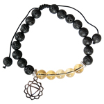 Lava and Citrine Bead Bracelet with Solar Plexus Chakra Charm