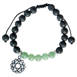 Lava and Green Aventurine Bead Bracelet with Heart Chakra Charm