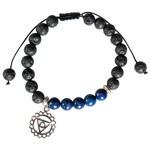 Lava and Lapis Lazuli Bead Bracelet with Third Eye Chakra Charm