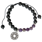 Lava and Amethyst Bead Bracelet with Crown Chakra Charm