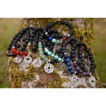 Lava and Chakra Bead Bracelets with Chakra Charms - Assorted (7)