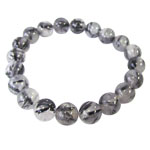 Gemstone Round Bead Bracelet - Tourmalinated Quartz