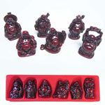 Buddha Set - Red Resin (set of 6)