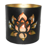 Tin Candle Holder - Lotus