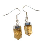 Earrings - Citrine Faceted Point