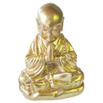 Namaste Praying Monk (15 cm) - Gold Resin