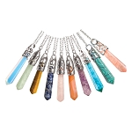 Filigree Cap Gemstone Point Pendants - Assorted (10)