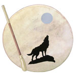 Tribal Frame Drum - Wolf and Moon