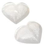Specialty Puffy Heart - Selenite Engraved with Angel Wings