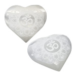 Specialty Puffy Heart - Selenite Engraved with Lotus