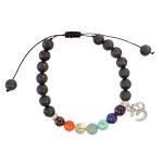 Lava and Chakra Bead Bracelet with Om Charm