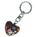 Harmony Heart Keychain - Black - Multicolour Flowers (6)