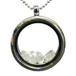 Glass Locket Necklace with Herkimer Diamonds