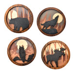 Wood Silhouette Magnets - Assorted (12)