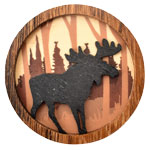 Wood Silhouette Magnets - Moose (3)