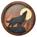 Wood Silhouette Magnets - Wolf (3)