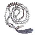 Japa Mala (Prayer Beads) - Matte White Howlite and Map Stone
