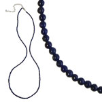 Gemstone 3 mm Round Bead Necklace (20 inch) - Lapis Lazuli