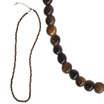 Gemstone 3 mm Round Bead Necklace (20 inch) - Gold Tigereye