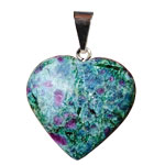 Gemstone Heart Pendant - Ruby Fuchsite / Kyanite
