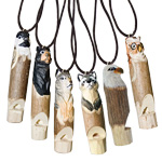 Carved Wood Whistle Pendant - Assorted (12)