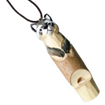 Hand Carved Wood Whistle Pendant - Raccoon (2)