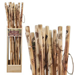 Carved Wood Walking Stick Display (20/display)