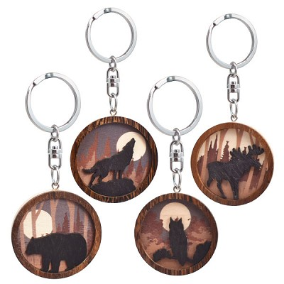 Wood Silhouette Keychains - Assorted (12)