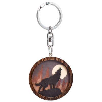 Wood Silhouette Keychains - Wolf (3)