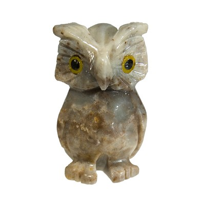 Mini Carved Stone Owl - Assorted Onyx (3)