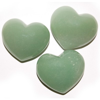 Puffy Heart Stones - Green Aventurine (6)